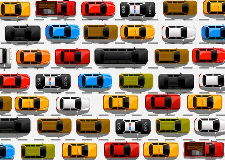 Traffic jam on the road. Road transport. Highway banner. Vector background Ilustrace