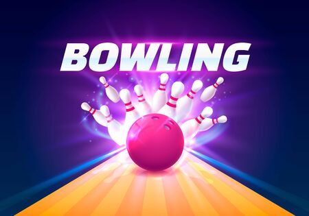 Bowling club poster with the bright background. Vector illustration Vetores