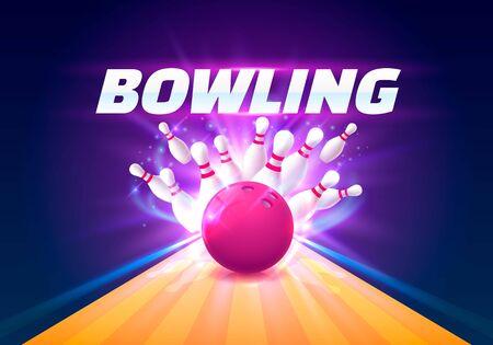 Bowlingclubplakat mit dem hellen Hintergrund. Vektorillustration Vektorgrafik
