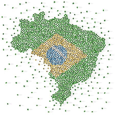 Large group of people in the shape of Brazilian flag. Federative Republic of Brazil. Vector illustration. Иллюстрация