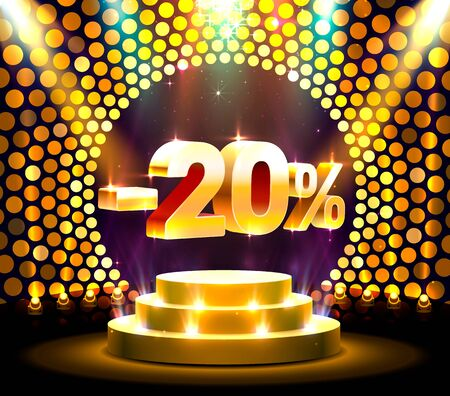Podium action with share discount percentage 20, sale off. Vector illustration Stock Illustratie
