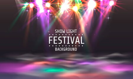 Festival show light, dance floor banner, disco text signboard. Vector illustration