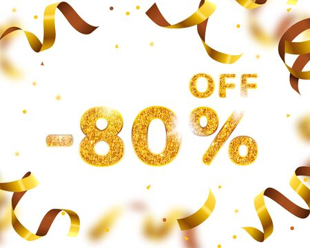 Banner 80 off with share discount percentage, Gold Ribbon Fly. Vector illustration Vectores