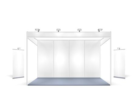 Scene show Podium for presentations on the gray background.