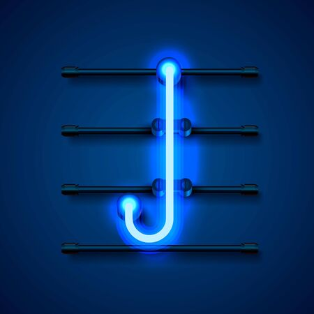 Neon font letter J, art design signboard. Vector illustration Illustration