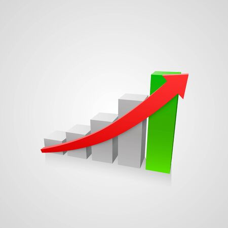 Arrow red business growth art info. Vector illustration