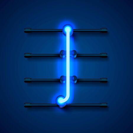 Neon font letter I, art design signboard. Vector illustration Çizim