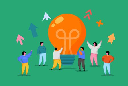 Flat People with Big Light Bulb Idea. Innovation, Brainstorming, Creativity Concept. Characters Working Together on new Project. New idea or Startup. Vector illustration