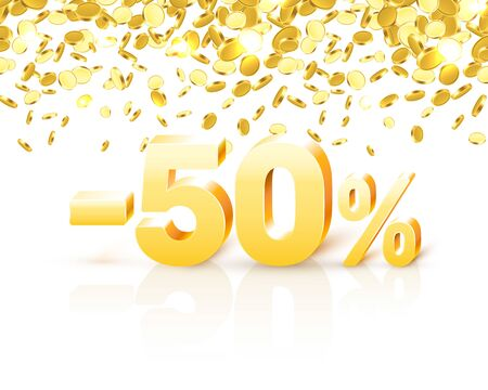 Big Discount, action with share discount percentage 50. Vector illustration