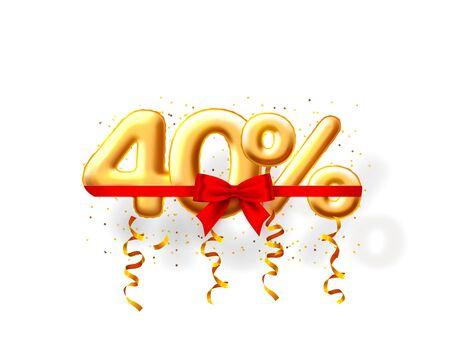 Verkauf von 40 Ballon-Nummer auf dem weißen Hintergrund. Vektor-Illustration