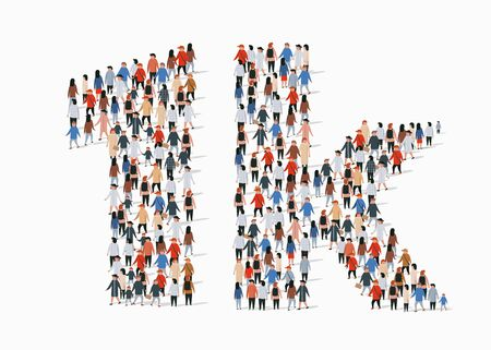 Group of people in form of 1k sign. One thousand followers. Vector illustration Иллюстрация