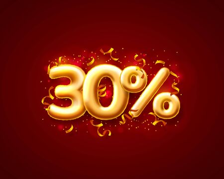 Sale 30 off ballon number on the red background. Vector illustration