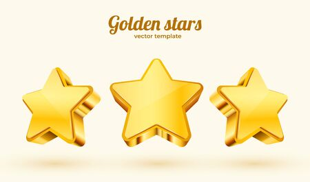 Three golden stars. Template for mobile game. Achievement concept. Vector illustration