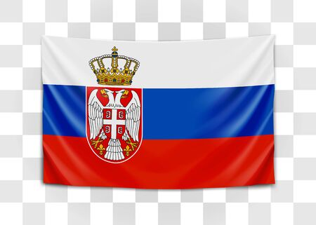 Hanging flag of Serbia. Republic of Serbia. National flag concept. Vector illustration.