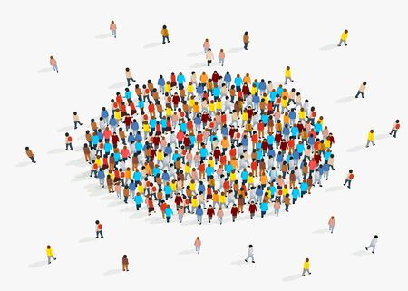 Template for advertising brochure with people crowd in shape of circle. Vector illustration Vectores