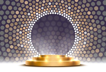 The gold podium is winner or popular on the gray background. Vector illustration