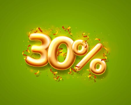Sale 30 off ballon number on the green background. Vector illustration