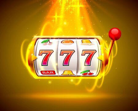 Gold slot machine wins the jackpot. Big win slots 777 banner casino.