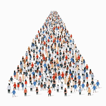 Template with a crowd of business people standing in a line. People crowd. Vector illustration