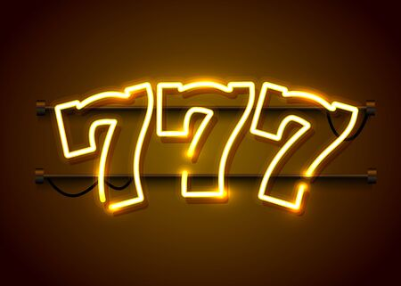 Neon 777 slots sign. Casino neon signboard. Online casino concept. Vector illustration Imagens - 128496043