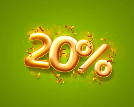 Sale 20 off ballon number on the green background. Vector illustration