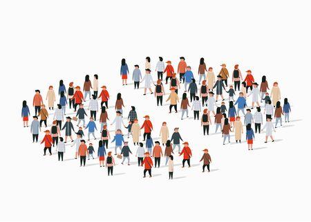 Rapporto demografico della popolazione, grafico a torta composto da persone. Gruppo separato. Illustrazione vettoriale