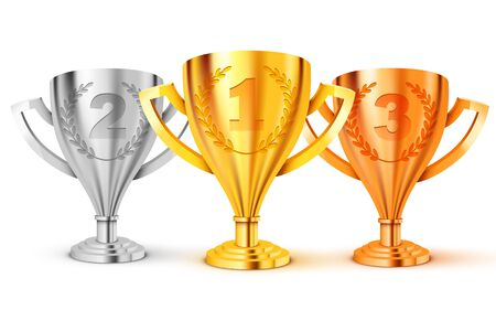 Realistic Golden Trophy. First second and. third place. Gold, silver and bronze. Vector Illustration