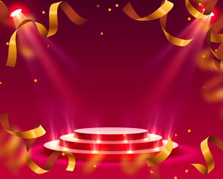 Stage podium with lighting confetti, Stage Podium Scene with for Award Ceremony on red Background. Vector illustration 向量圖像