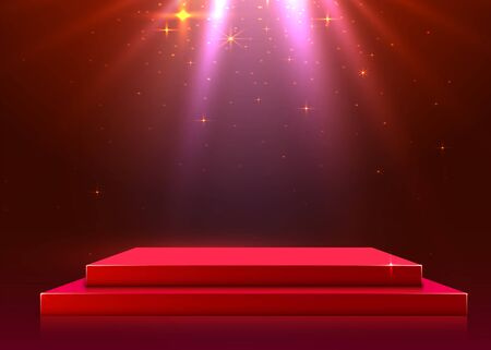 Abstract podium illuminated with spotlight. Award ceremony concept. Stage backdrop. Vector illustration