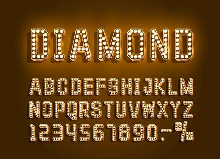 Diamond Golden font alphabet, number sign. Vector illustration