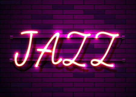 Neon sign, the word Jazz on dark background. Background for your design, greeting card, banner. Vector illustration Illustration