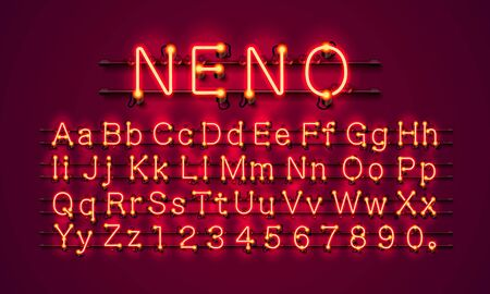 Neon city color red font. English alphabet and numbers sign. Vector illustration Illustration