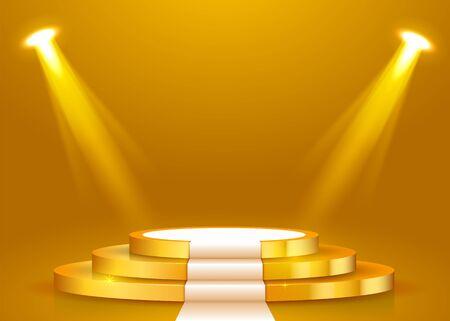 Abstraktes rundes Podium mit weißem Teppich, der mit Scheinwerfer beleuchtet wird. Konzept der Preisverleihung. Bühnenhintergrund. Vektor-Illustration