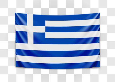 Hängende Flagge von Griechenland. Hellenische Republik. Konzept der griechischen Nationalflagge. Vektor-Illustration.