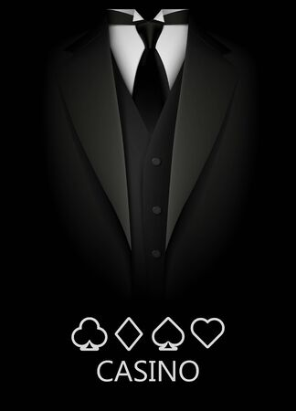 Tuxedo with suit of cards background. Casino concept. Elite poker club. Clean vector illustration