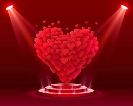 Happy Valentines Day greeting postcard podium with lighting, Vector illustration