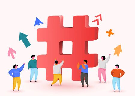 Hashtag sign. Concept of hashtag for social media marketing advertising, blogging, media planning, promotion in social network with group of happy people. Vector