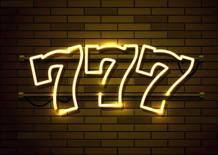 Neon 777 slots sign. Casino neon signboard. Online casino concept. Vector illustration