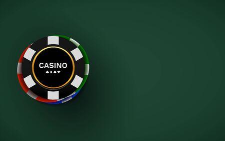 Casino chips isolated on dark background. Poker concept. Vector illustration