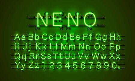 Neon font city. Neon green font. Lamp green font. Alphabet font. Vector illustration
