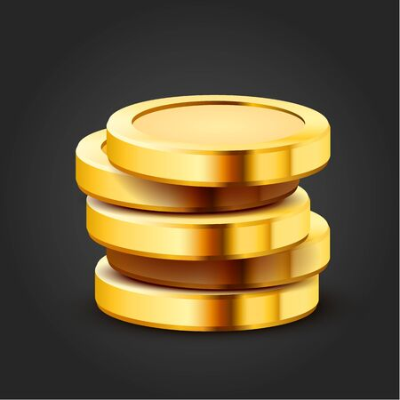 Stack of golden dollar coins isolated on dark background. Vector illustration