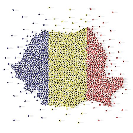 Large group of people in the shape of Romanian flag. Romania. Vector illustration Ilustração