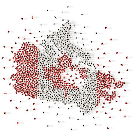large group of people in the shape of a flag with. Canada. Vector illustration Vectores