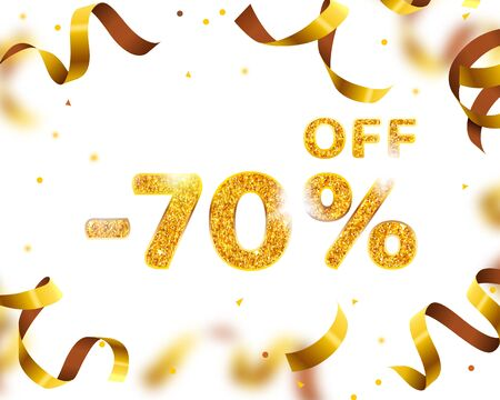 Banner 70 off with share discount percentage, Gold Ribbon Fly. Vector illustration Vectores