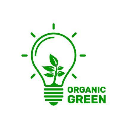 ecologia energia della luce verde organica. segno su sfondo bianco. Illustrazione vettoriale Vettoriali