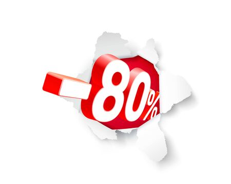 Paper explosion banner 80 off with share discount percentage. Vector illustration