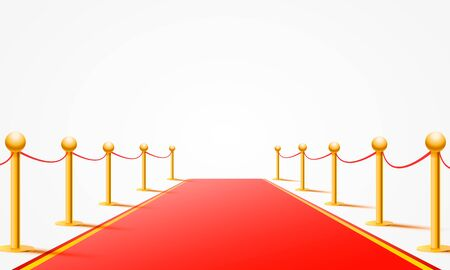 Red event carpet on the white background. Vector illustration