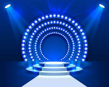 Podio de escenario con iluminación, Escena de podio de escenario con ceremonia de premiación sobre fondo azul, ilustración vectorial Ilustración de vector