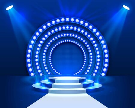 Stage podium with lighting, Stage Podium Scene with for Award Ceremony on blue Background, Vector illustration Illusztráció