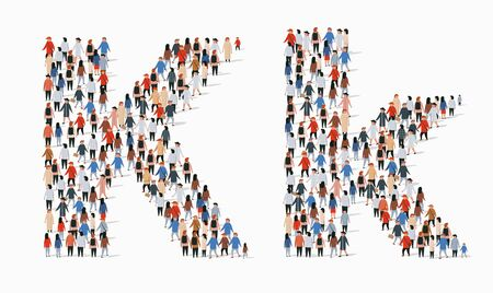 Large group of people in letter K form. Vector seamless background Çizim